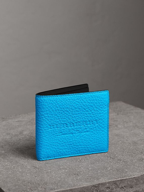 Embossed Leather International Bifold Wallet in Neon Blue