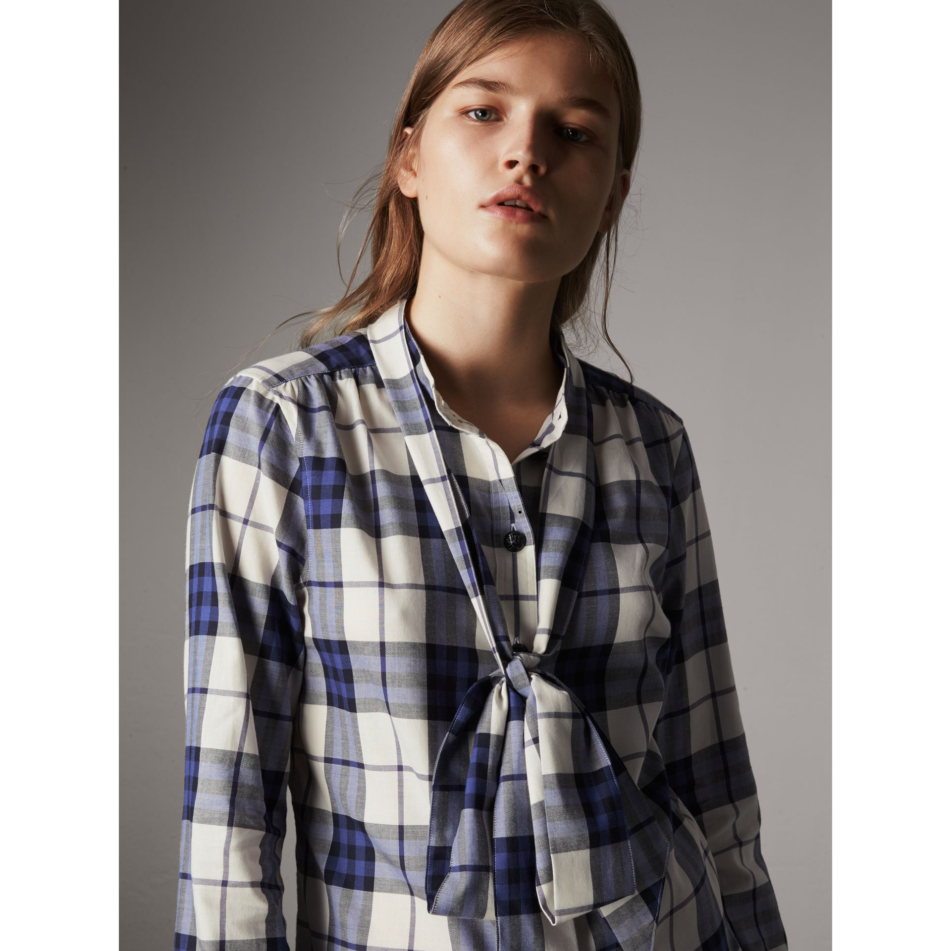 Pussy-bow Check Flannel Shirt in Bright Navy - Women | Burberry Hong Kong - gallery image 2