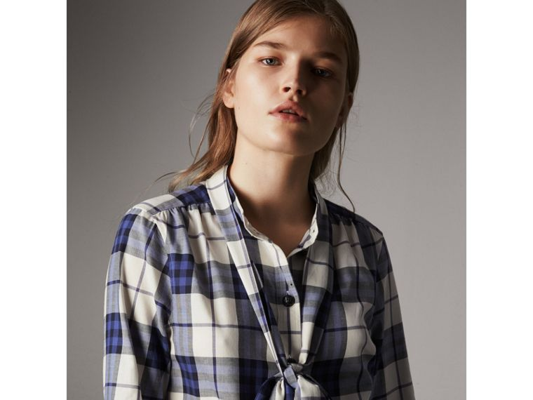 Pussy-bow Check Flannel Shirt in Bright Navy - Women | Burberry Hong Kong - cell image 1