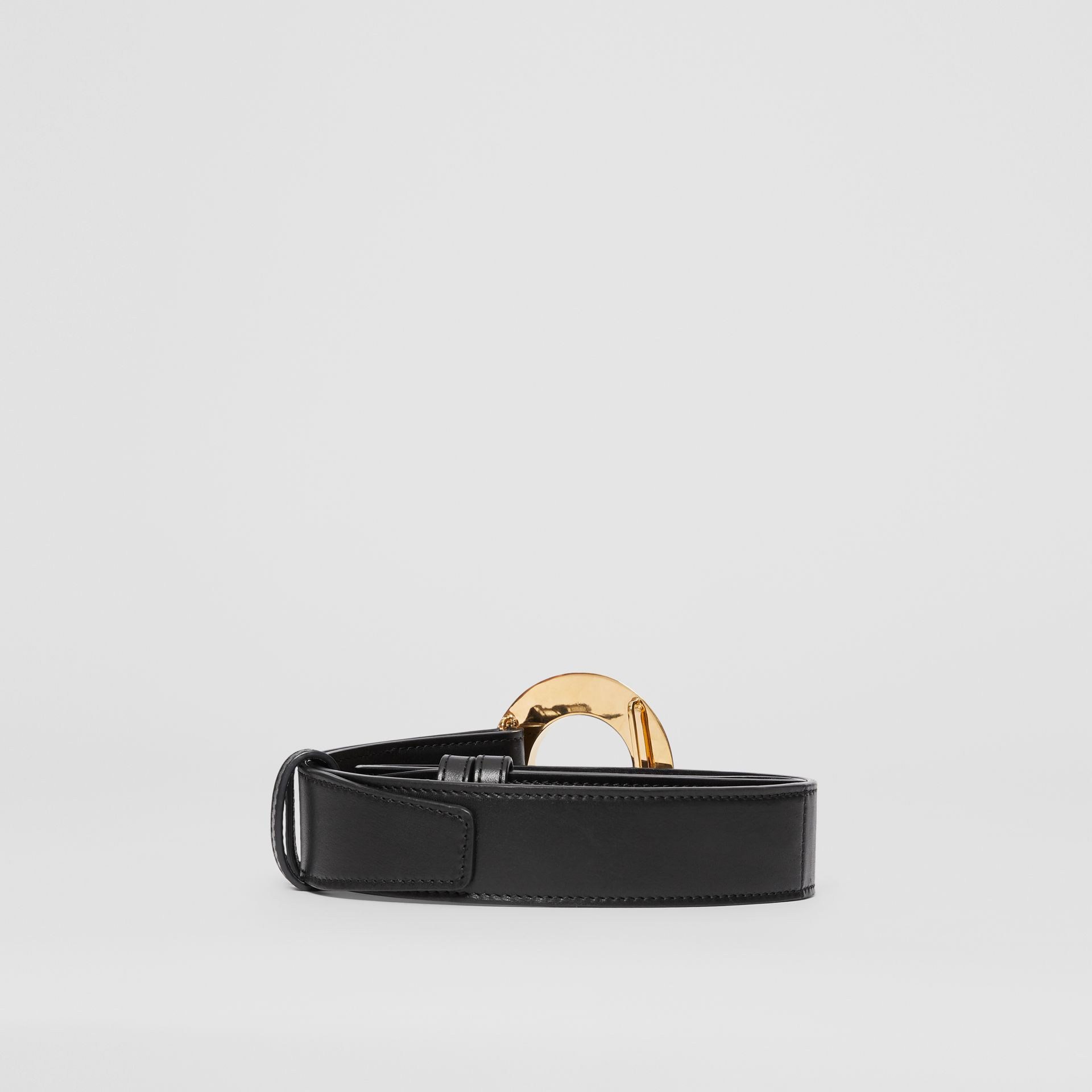 Porthole Buckle Leather Belt in Black - Women | Burberry - gallery image 4
