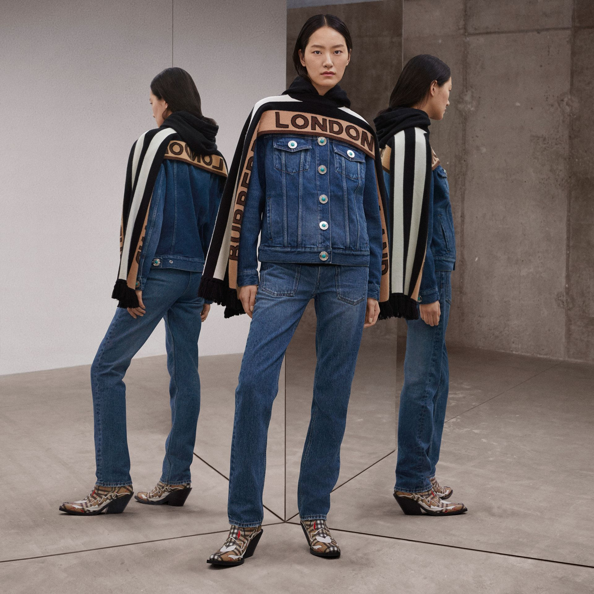 Logo Appliqué Reconstructed Denim Jacket in Indigo - Women | Burberry Singapore - gallery image 1