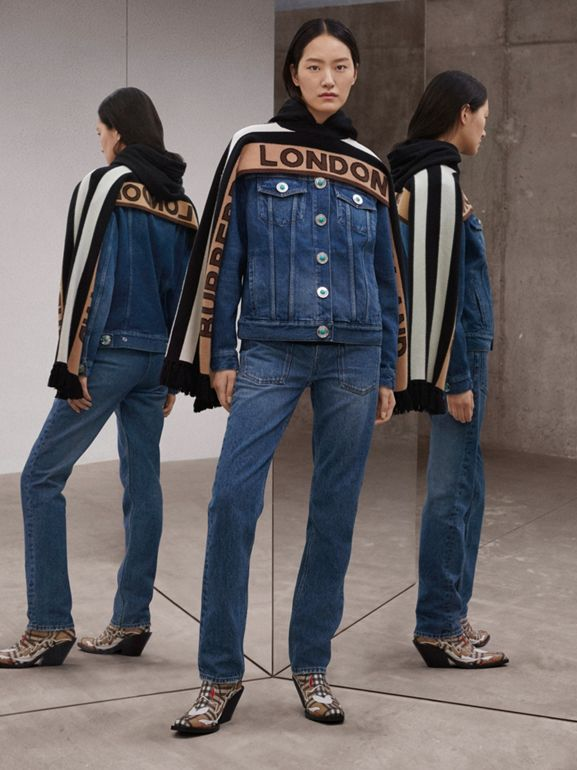 Logo Appliqué Reconstructed Denim Jacket in Indigo - Women | Burberry United Kingdom - cell image 1