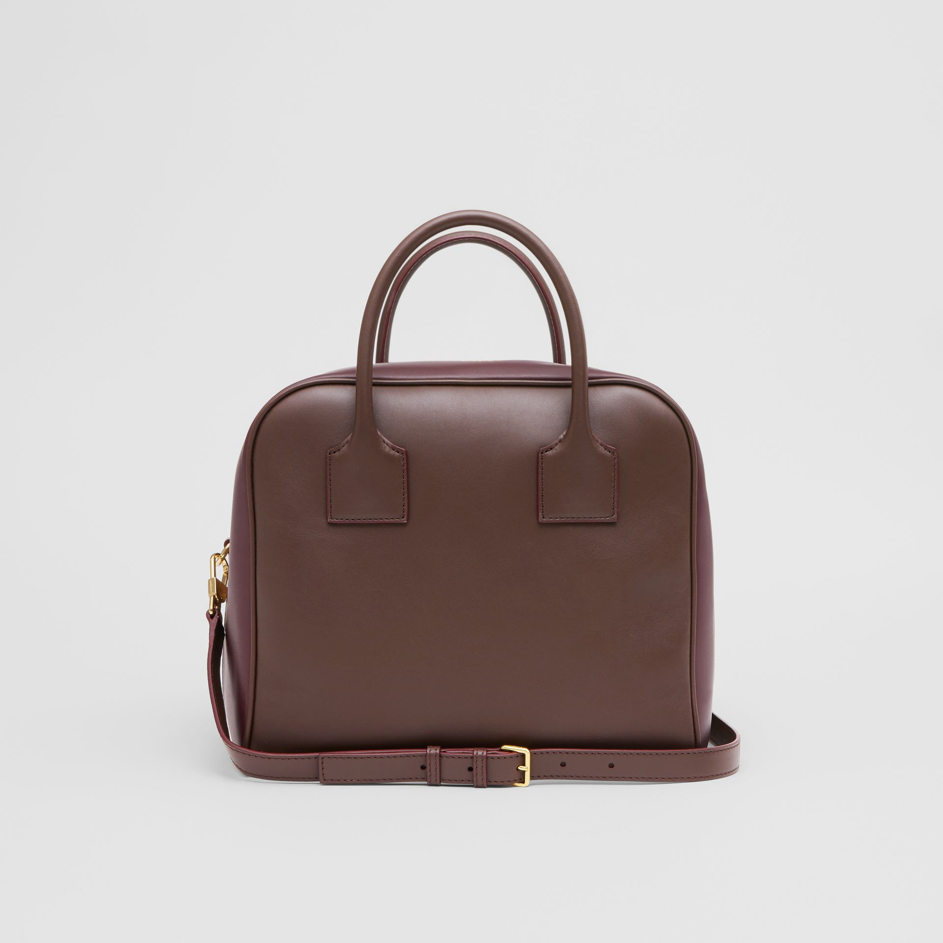 Medium Leather and Suede Cube Bag in Mahogany - Women | Burberry United Kingdom - gallery image 7