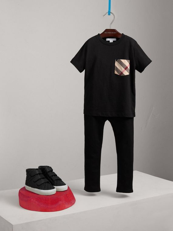 Check Pocket Cotton T-shirt in Black