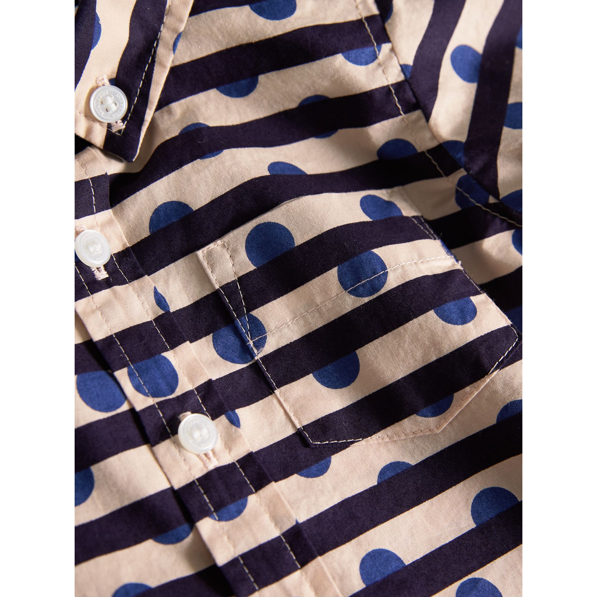 Spot and Stripe Print Cotton Shirt in Natural White/navy | Burberry - gallery image 1