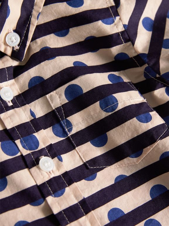 Spot and Stripe Print Cotton Shirt in Natural White/navy | Burberry - cell image 1