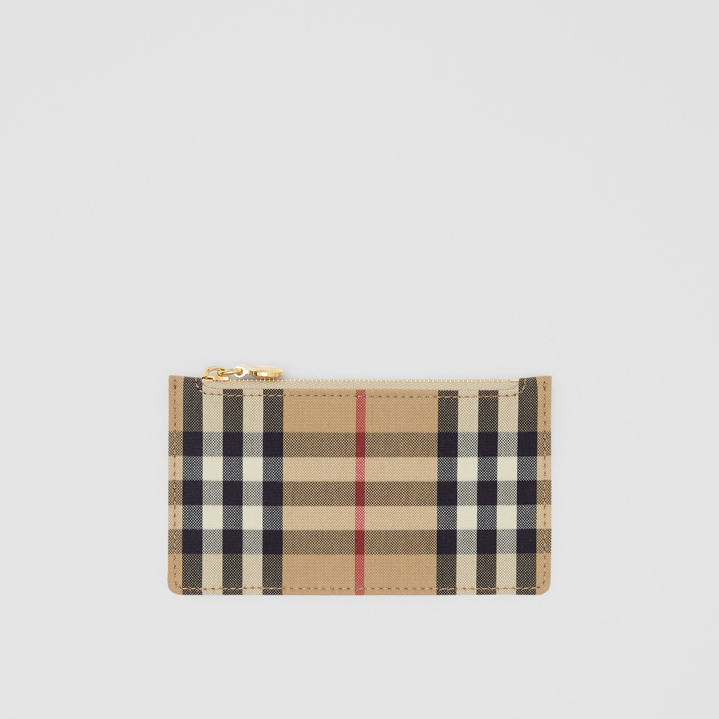 Vintage Check and Leather Zip Card Case in Light Beige - Women | Burberry - 1