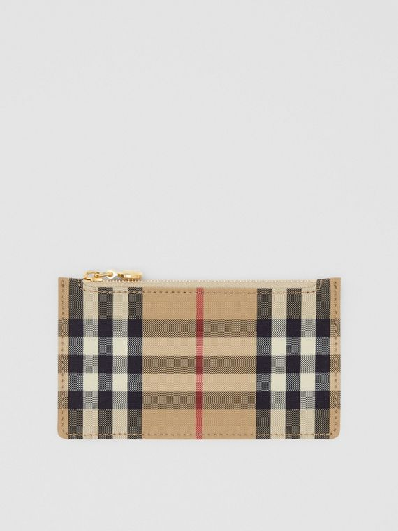 Vintage Check and Leather Zip Card Case in Light Beige