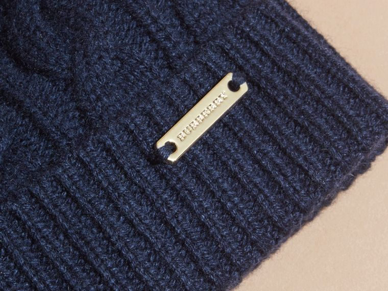 Navy Cable Knit Wool Cashmere Beanie - cell image 1