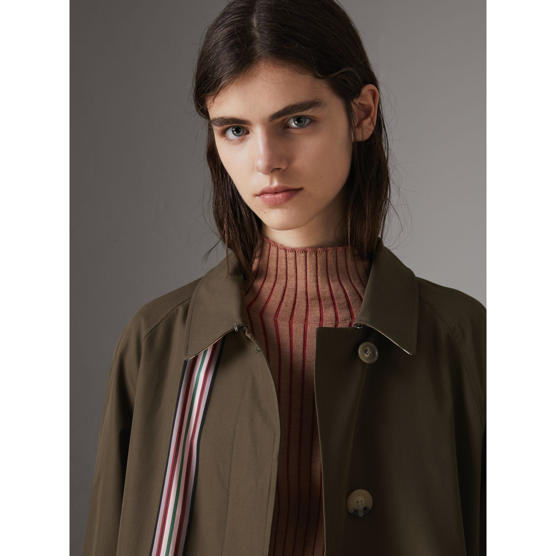 Striped Ribbon Cotton Gabardine Car Coat in Olive - Women | Burberry - gallery image 1