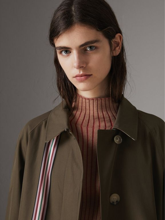 Striped Ribbon Cotton Gabardine Car Coat in Olive - Women | Burberry - cell image 1