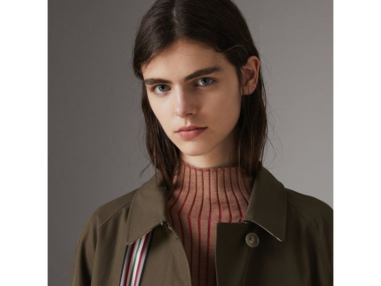 Collegiate Stripe Cotton Gabardine Car Coat in Olive - Women | Burberry - cell image 1