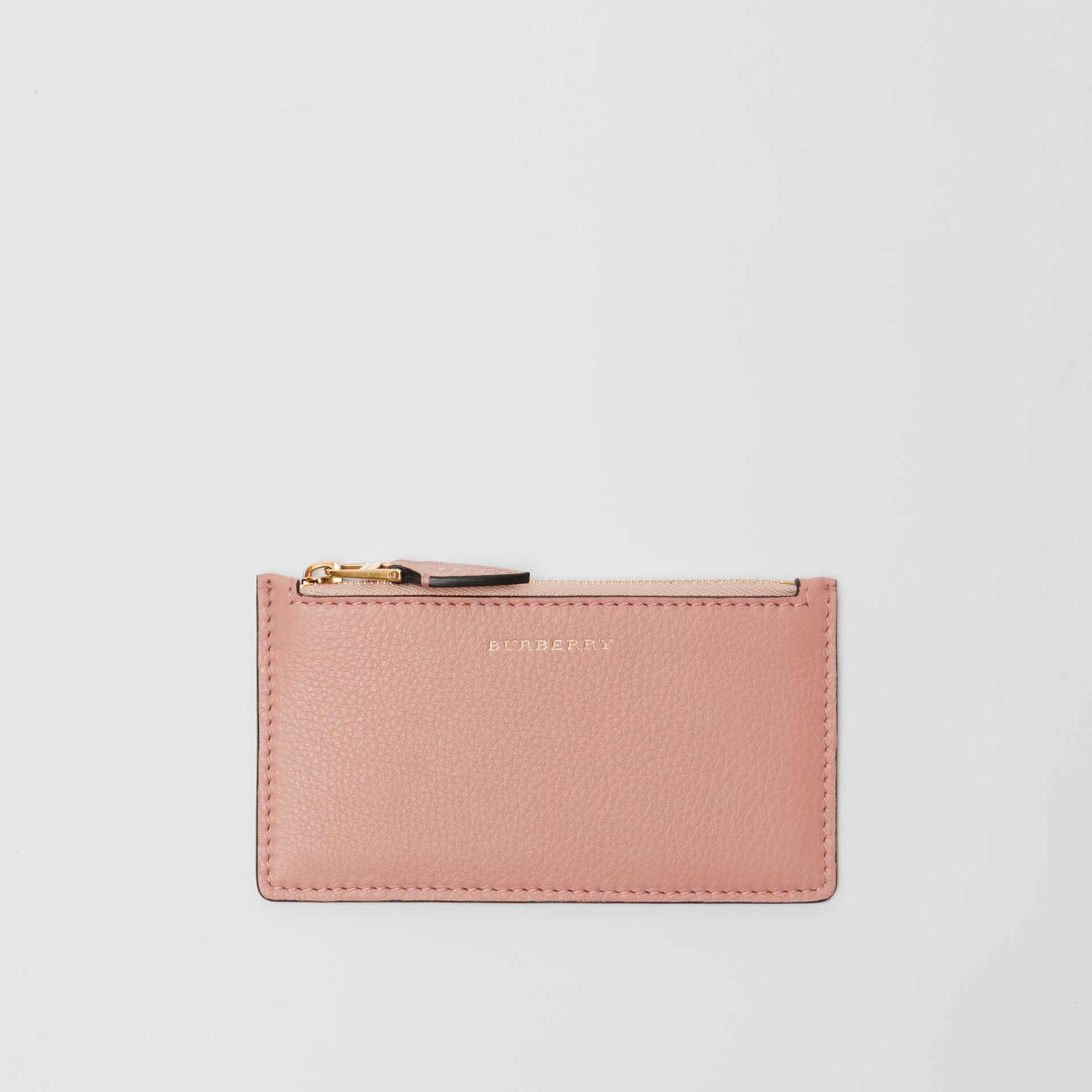 Porte-cartes zippé en cuir bicolore (Rose Platiné) - Femme | Burberry - photo de la galerie 0