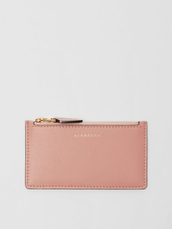 Two-tone Leather Zip Card Case in Ash Rose