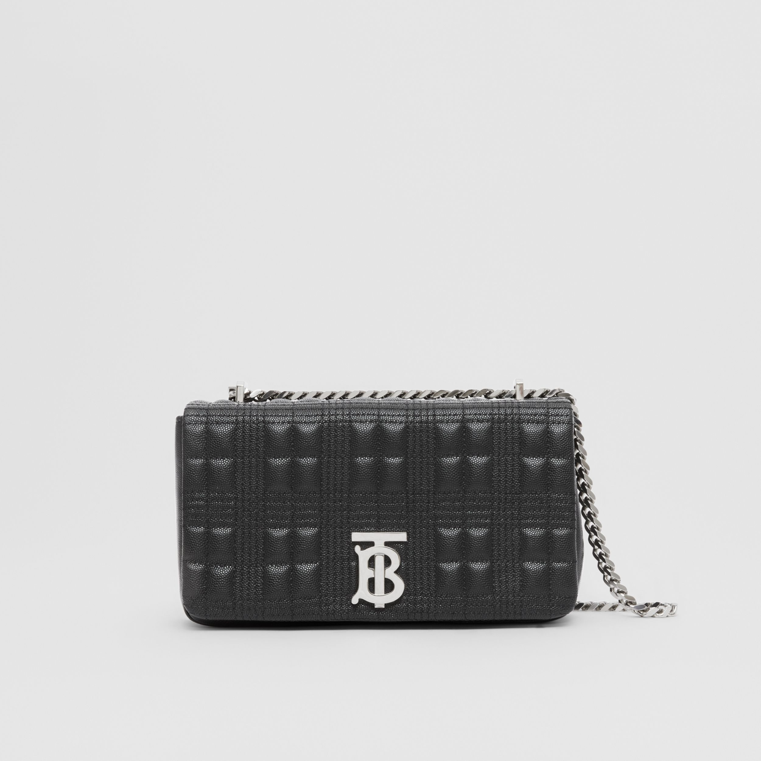 Small Quilted Grainy Leather Lola Bag in Black/palladium | Burberry - 1
