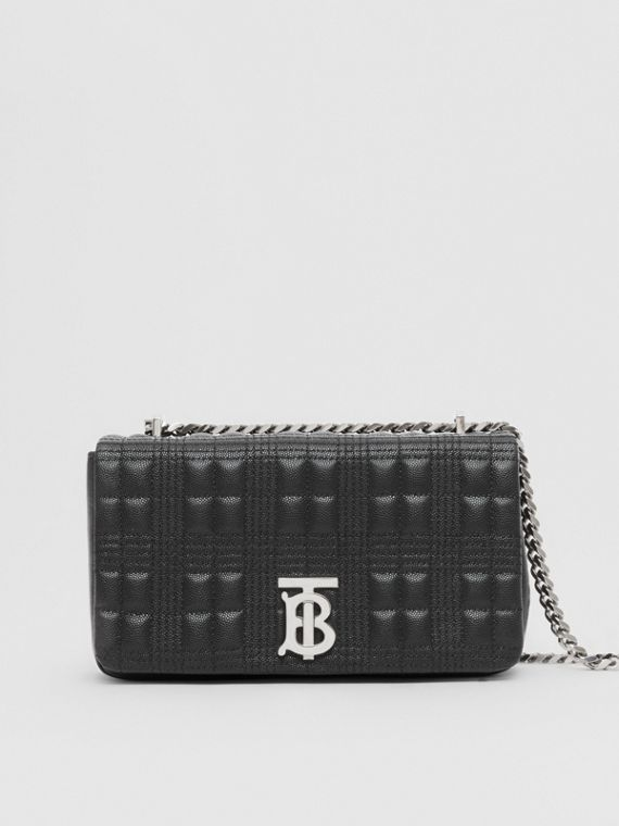 Small Quilted Check Grainy Leather Lola Bag in Black