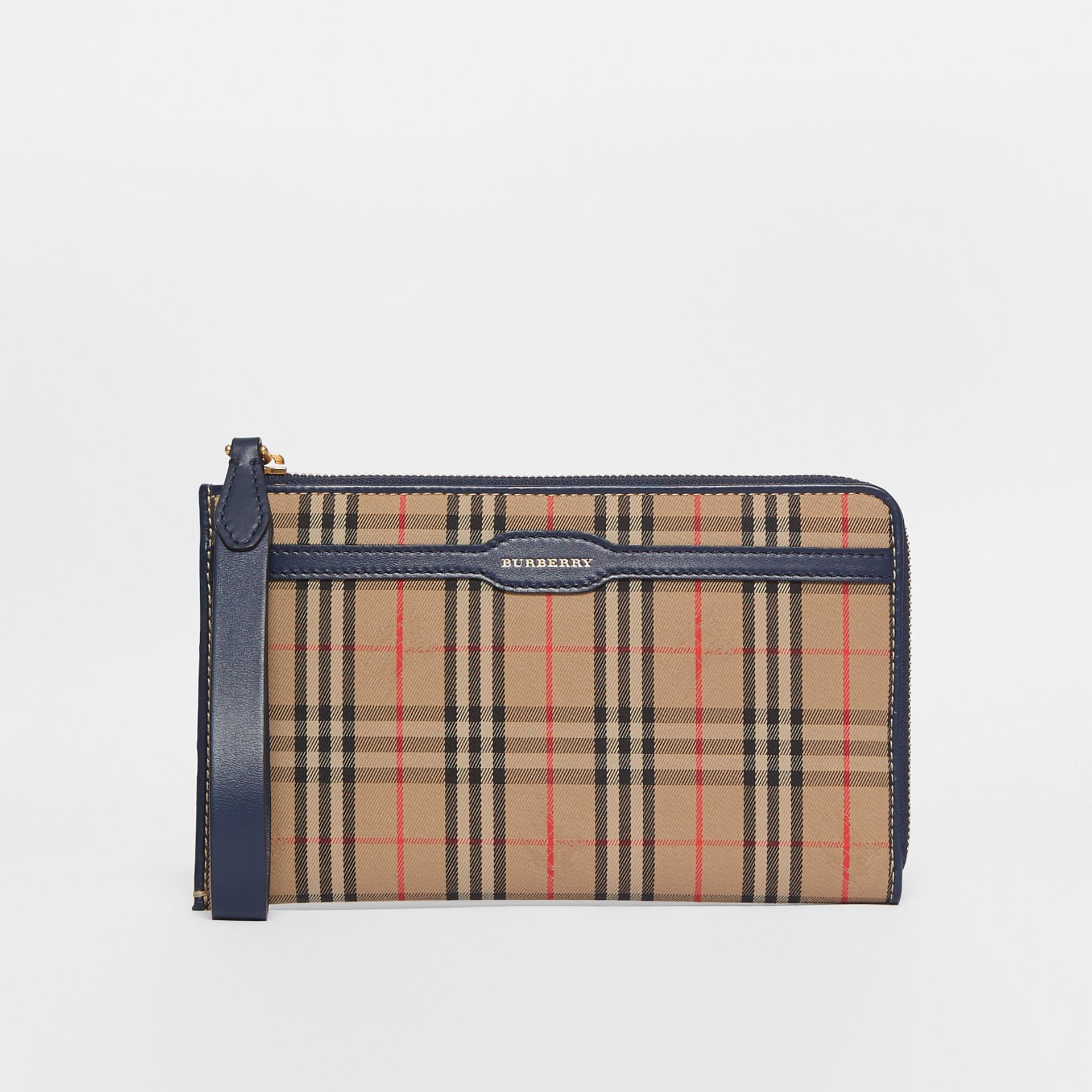 1983 Check and Leather Travel Wallet in Ink Blue | Burberry - gallery image 0