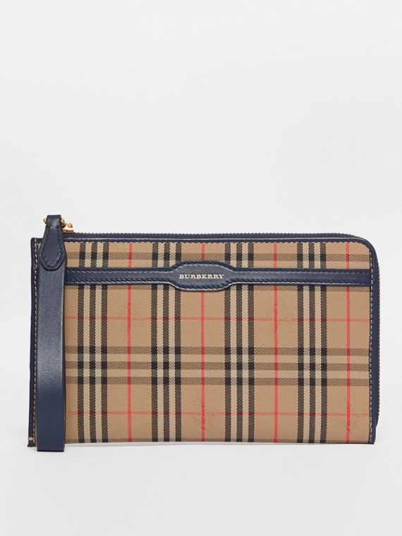 1983 Check and Leather Travel Wallet in Ink Blue
