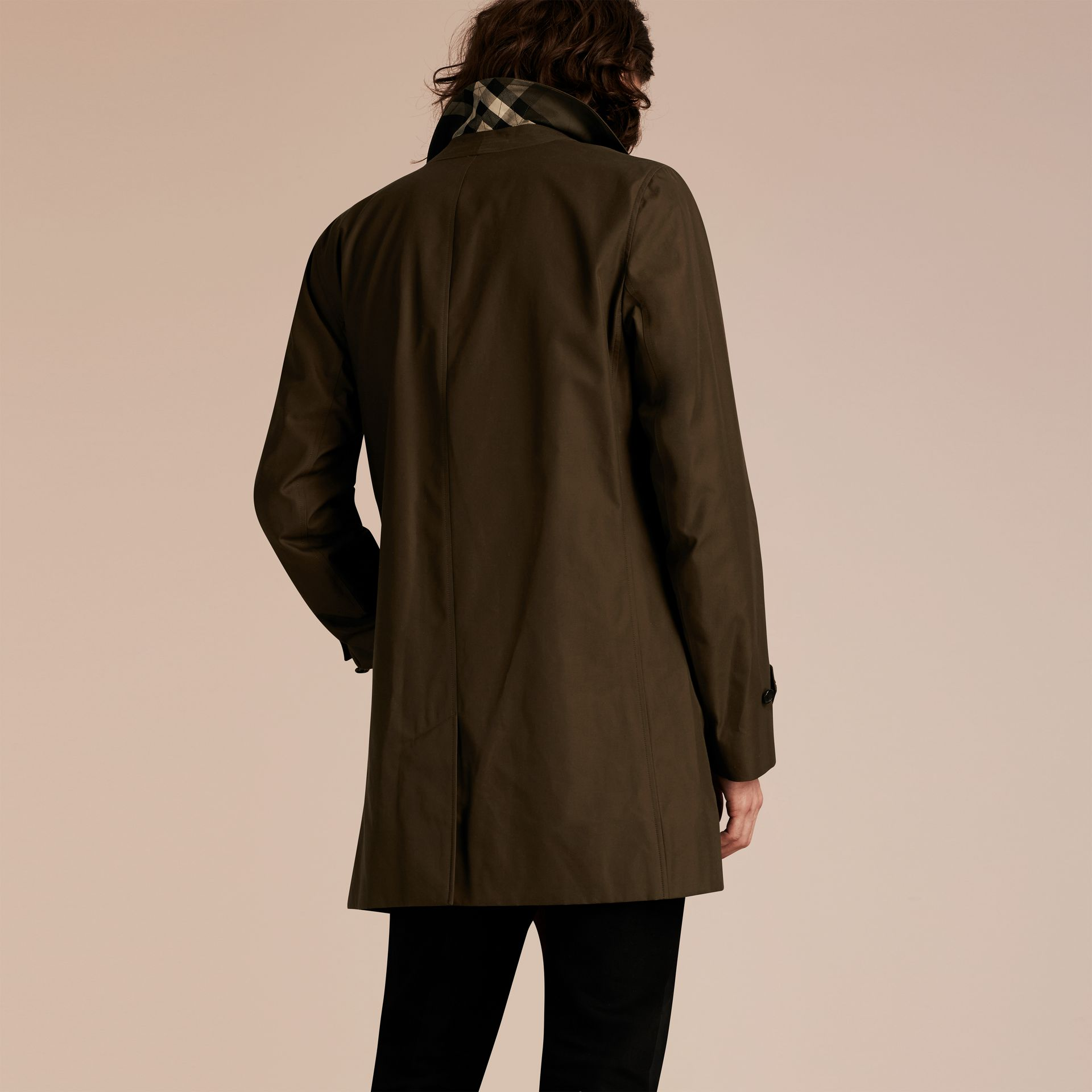 Dark khaki green Cotton Gabardine Car Coat Dark Khaki Green - gallery image 3