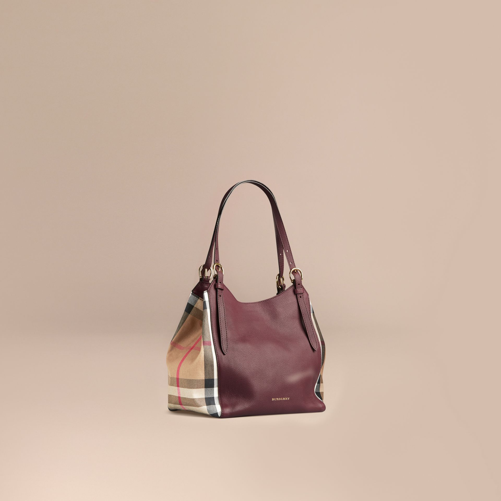 The Small Canter in Leather and House Check in Mahogany Red - gallery image 1
