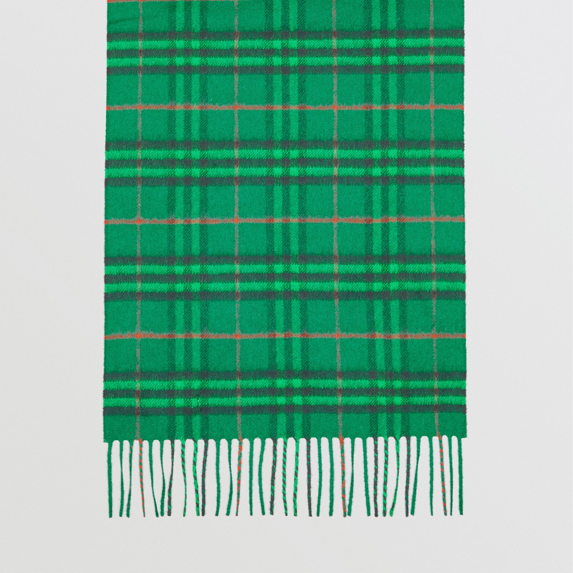 The Classic Vintage Check Cashmere Scarf in Viridian Green | Burberry Singapore - gallery image 4
