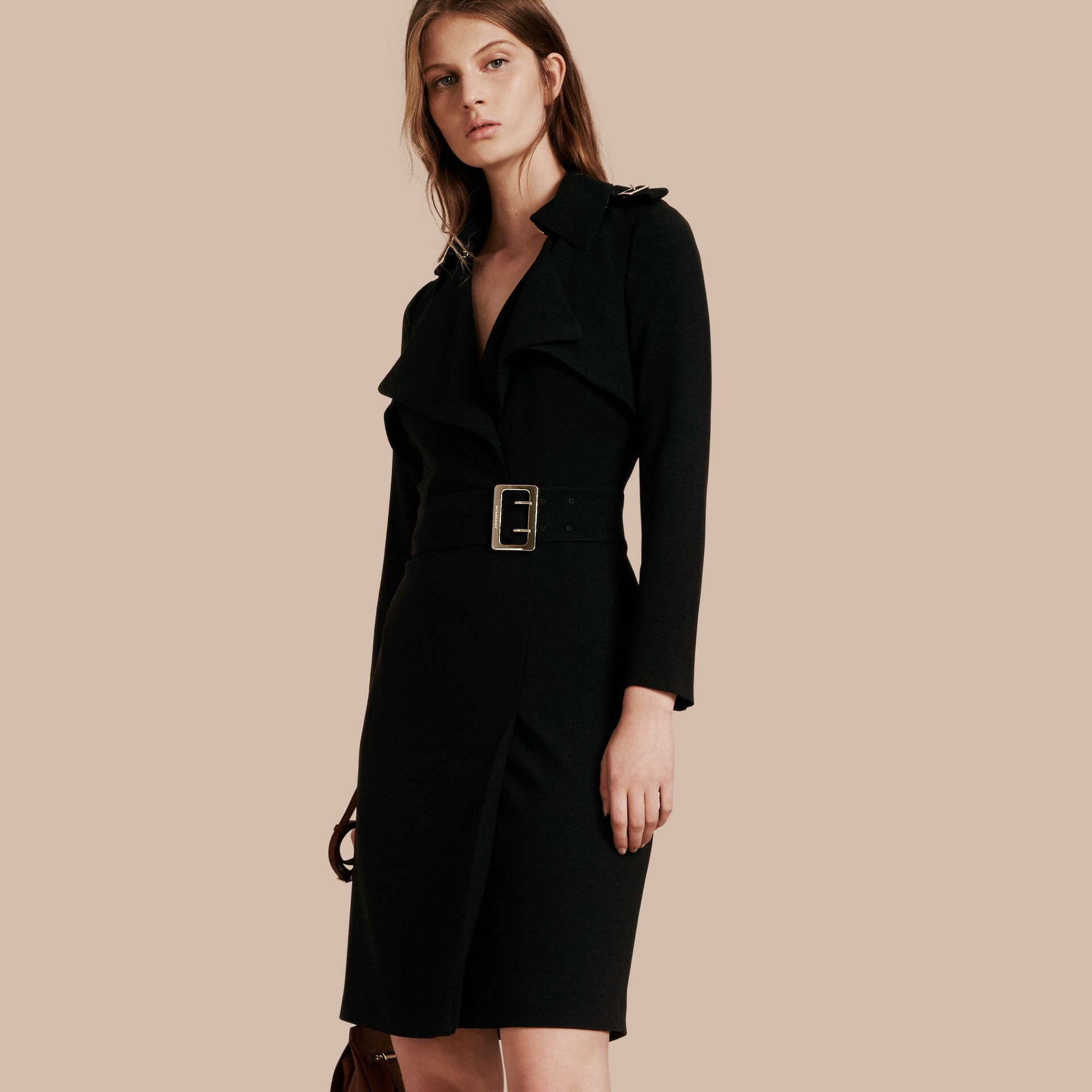 Buckle Detail Satin-back Crepe Trench Dress Black - gallery image 1