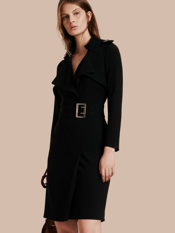 Buckle Detail Satin-back Crepe Trench Dress Black