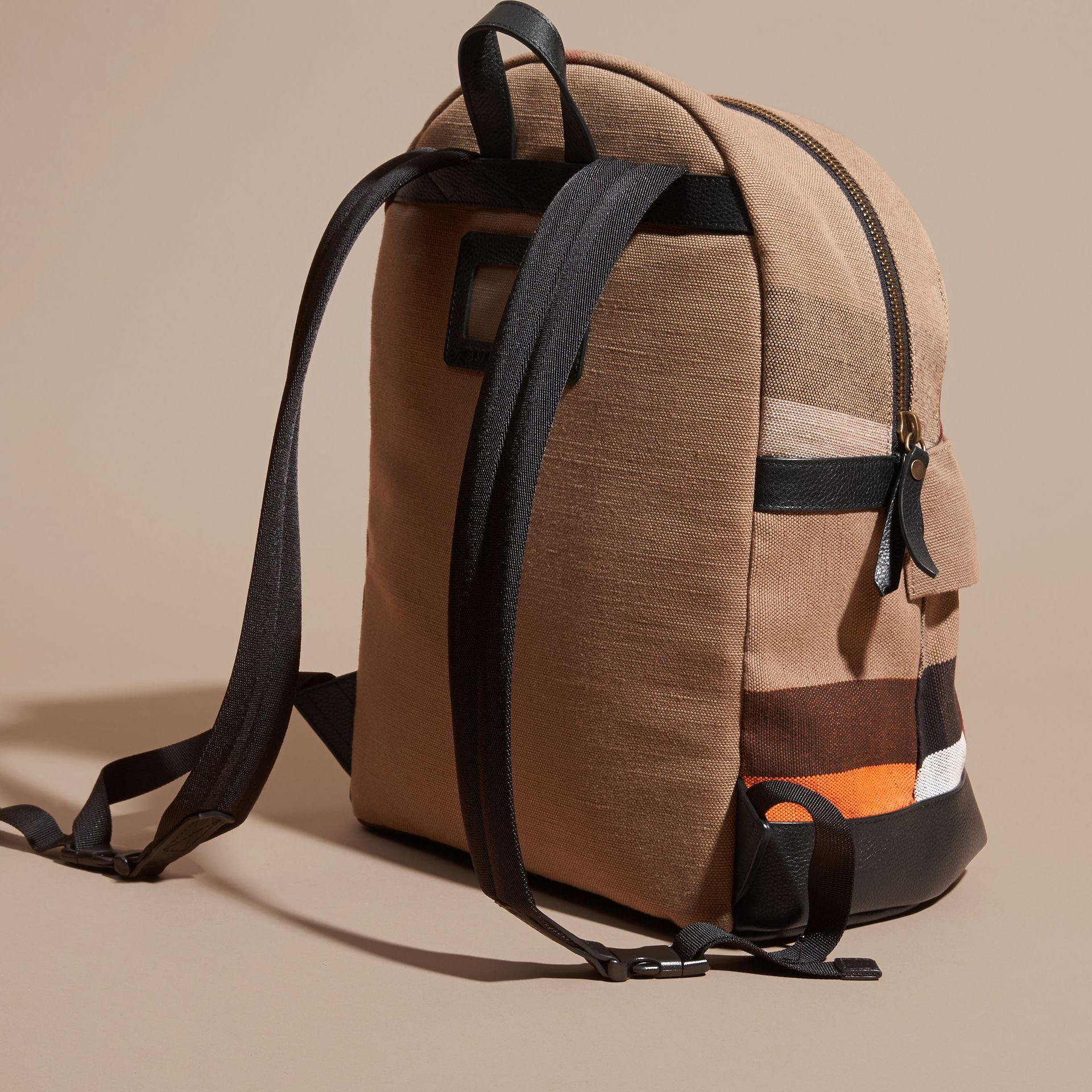 Black Colour Block Canvas Check Backpack - gallery image 4