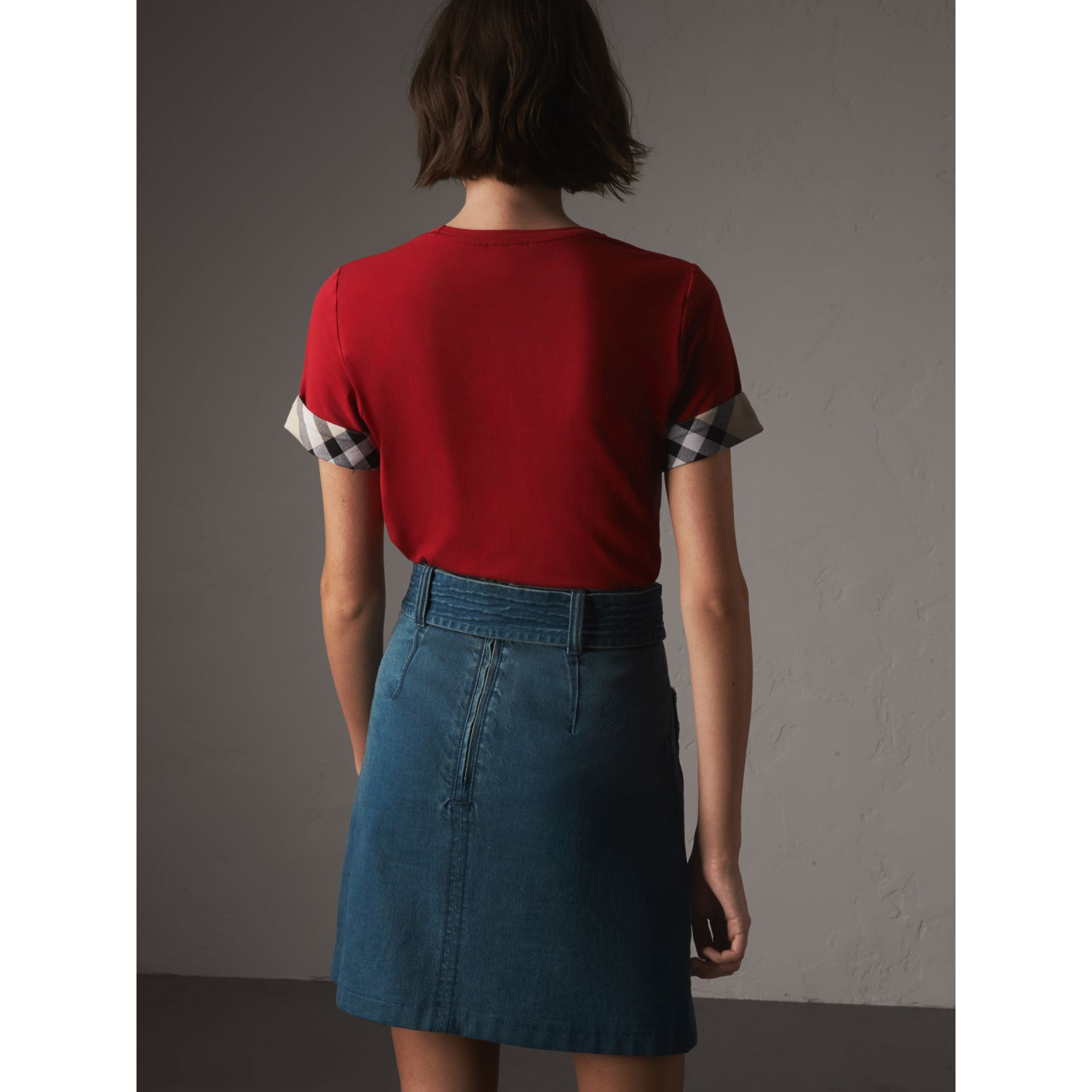 Check Cuff Stretch Cotton T-Shirt in Lacquer Red - Women | Burberry - gallery image 2