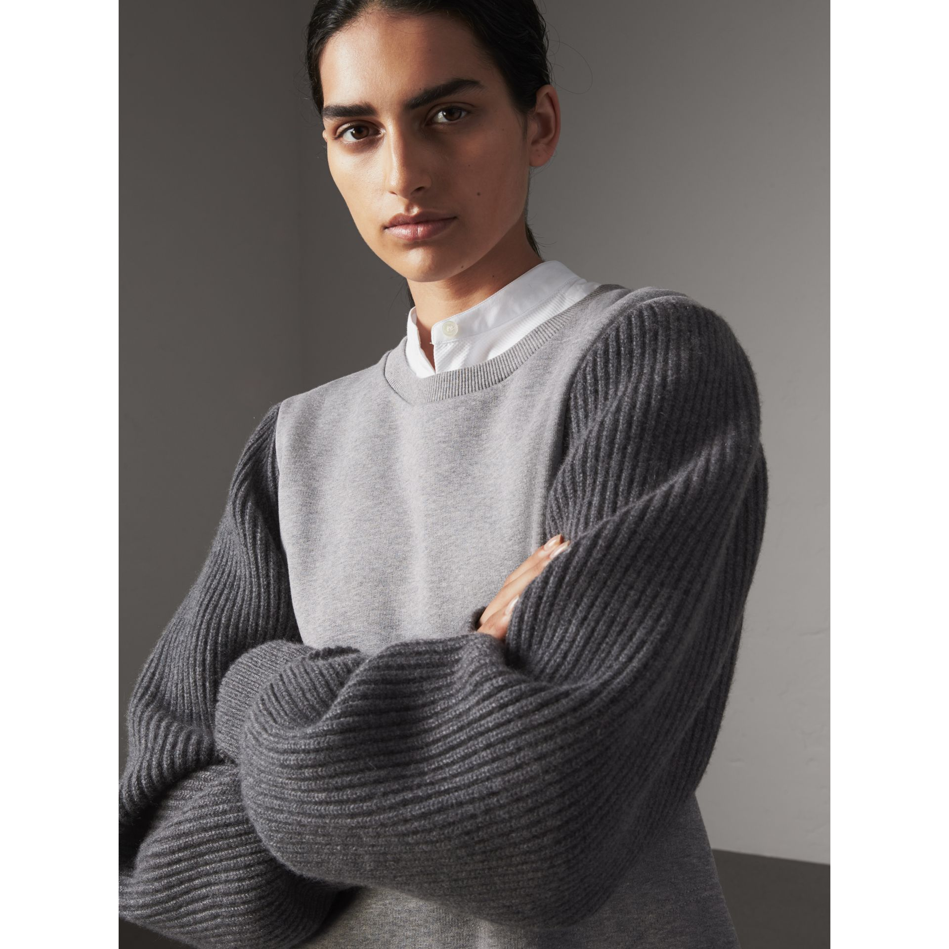 Rib Knit-sleeve Cotton Blend Sweatshirt in Pale Grey Melange - Women | Burberry United Kingdom - gallery image 1