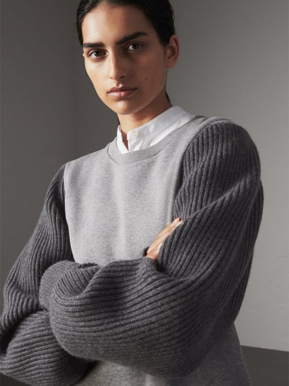 Rib Knit-sleeve Cotton Blend Sweatshirt in Pale Grey Melange