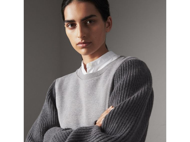 Rib Knit-sleeve Cotton Blend Sweatshirt in Pale Grey Melange - Women | Burberry - cell image 1