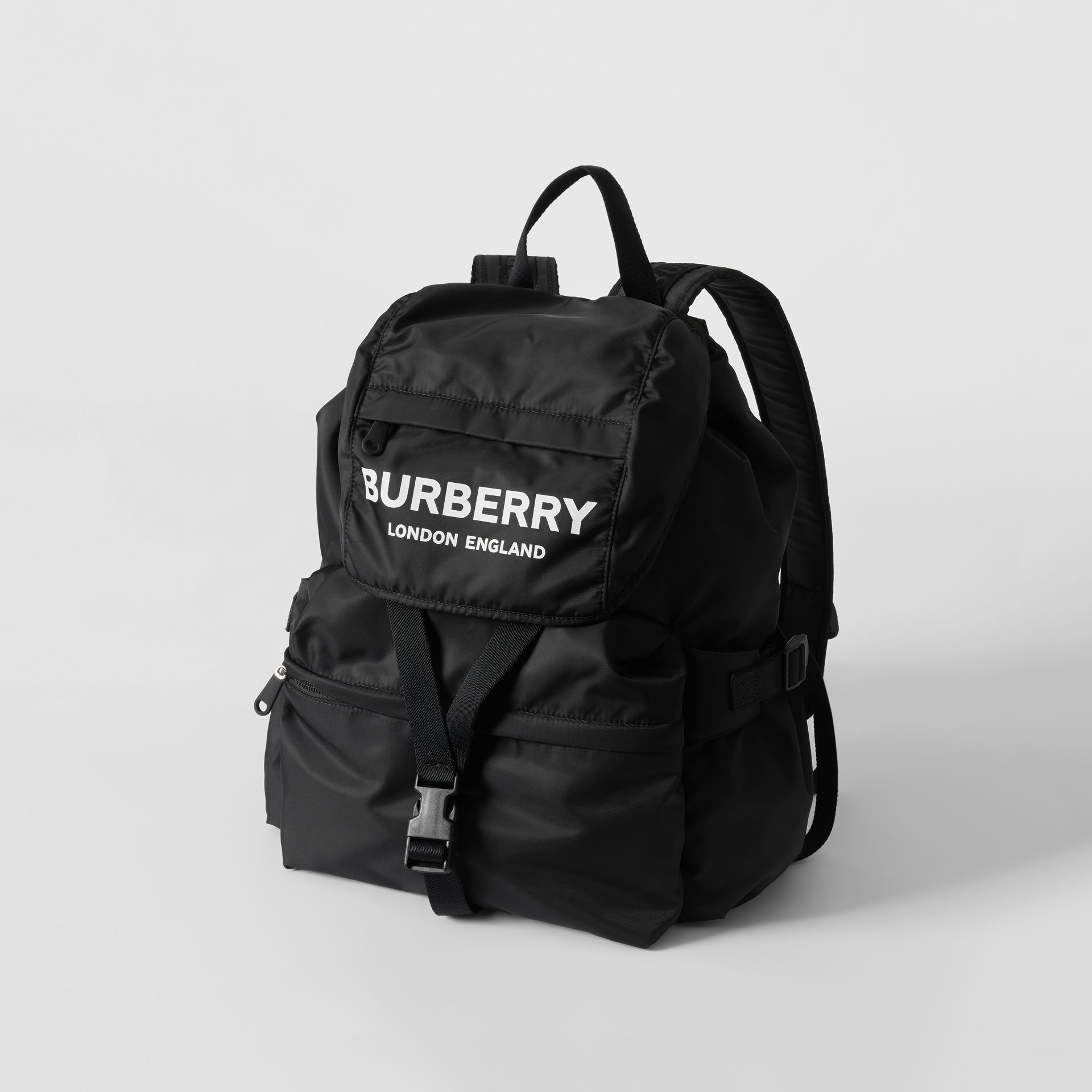 Logo Print Nylon Backpack in Black - Women | Burberry Australia - gallery image 2