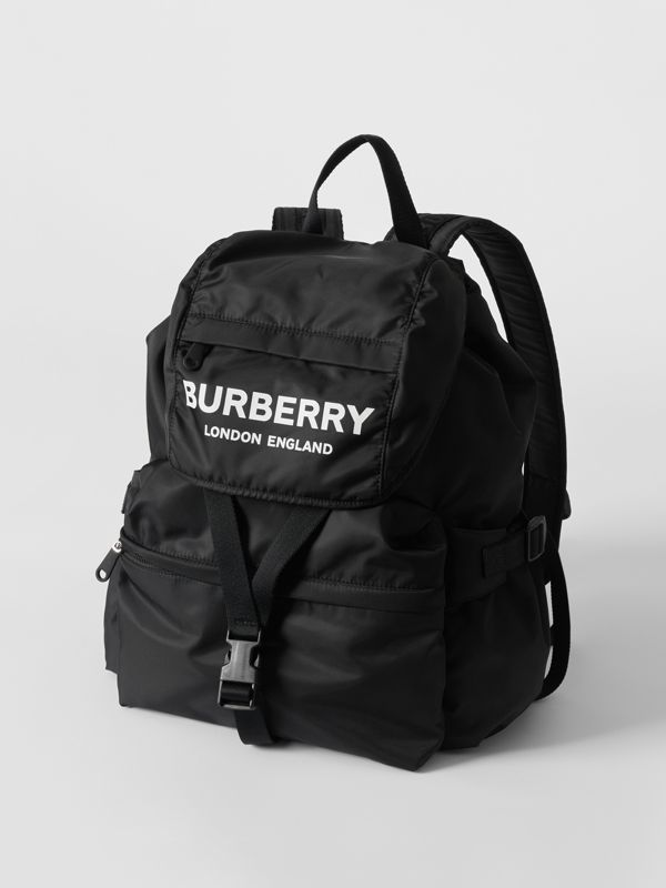 Logo Print Nylon Backpack in Black - Women | Burberry - cell image 3