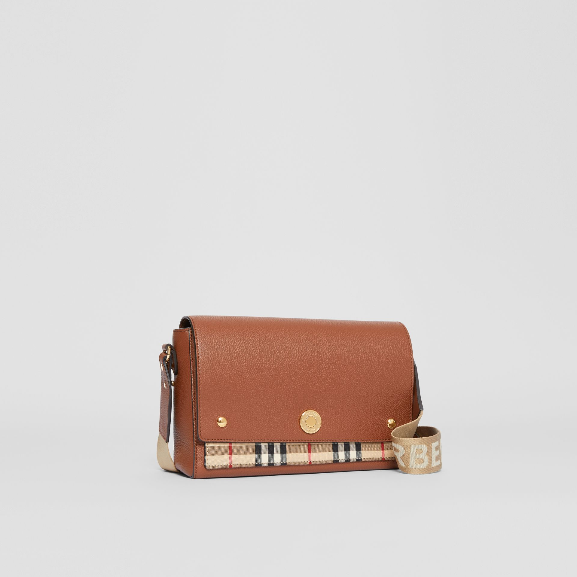 Leather and Vintage Check Note Crossbody Bag in Tan - Women | Burberry United Kingdom - gallery image 6