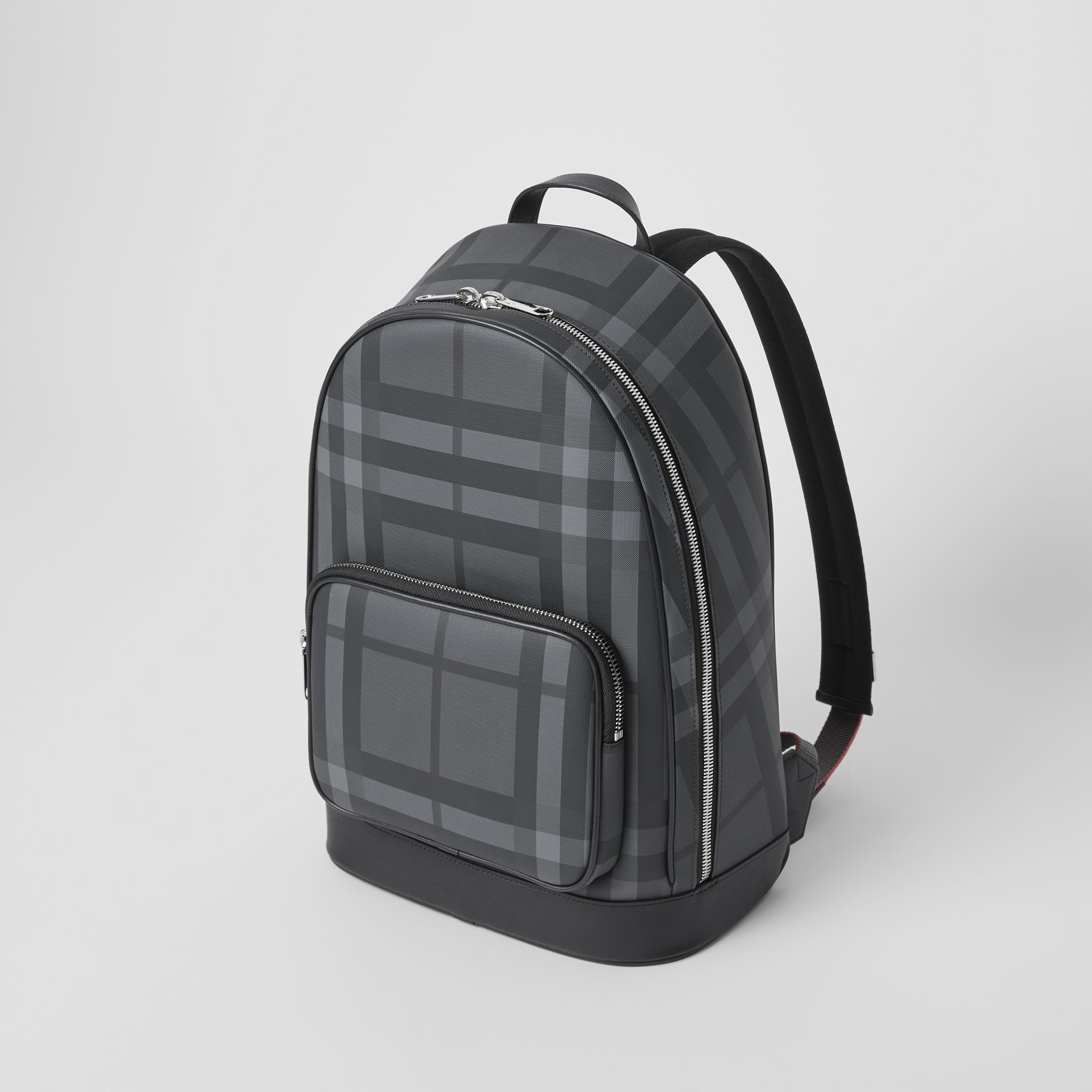 London Check and Leather Backpack in Charcoal/black - Men | Burberry United Kingdom - gallery image 4