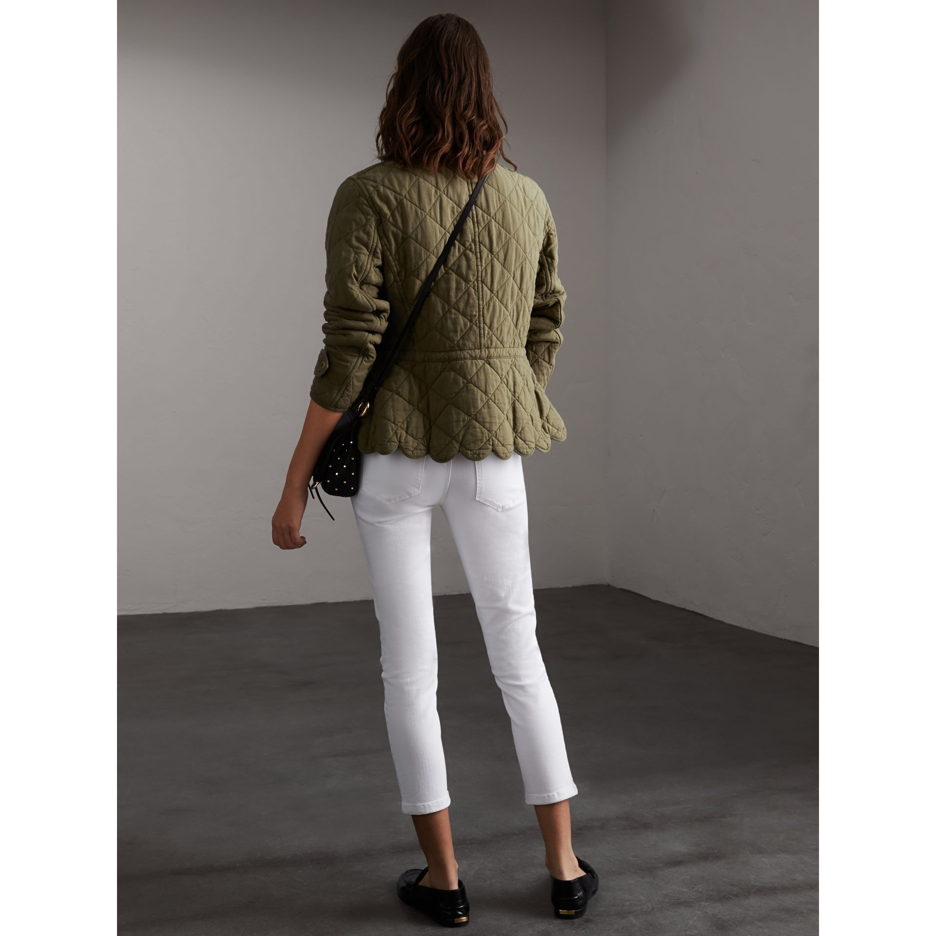 Scalloped Diamond Quilted Cotton Jacket in Olive - Women | Burberry - gallery image 3