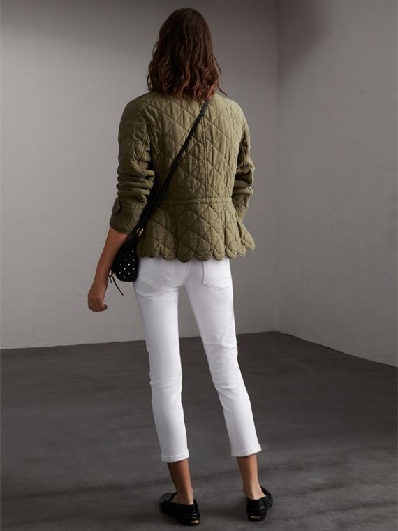Scalloped Diamond Quilted Cotton Jacket in Olive - Women | Burberry - cell image 2