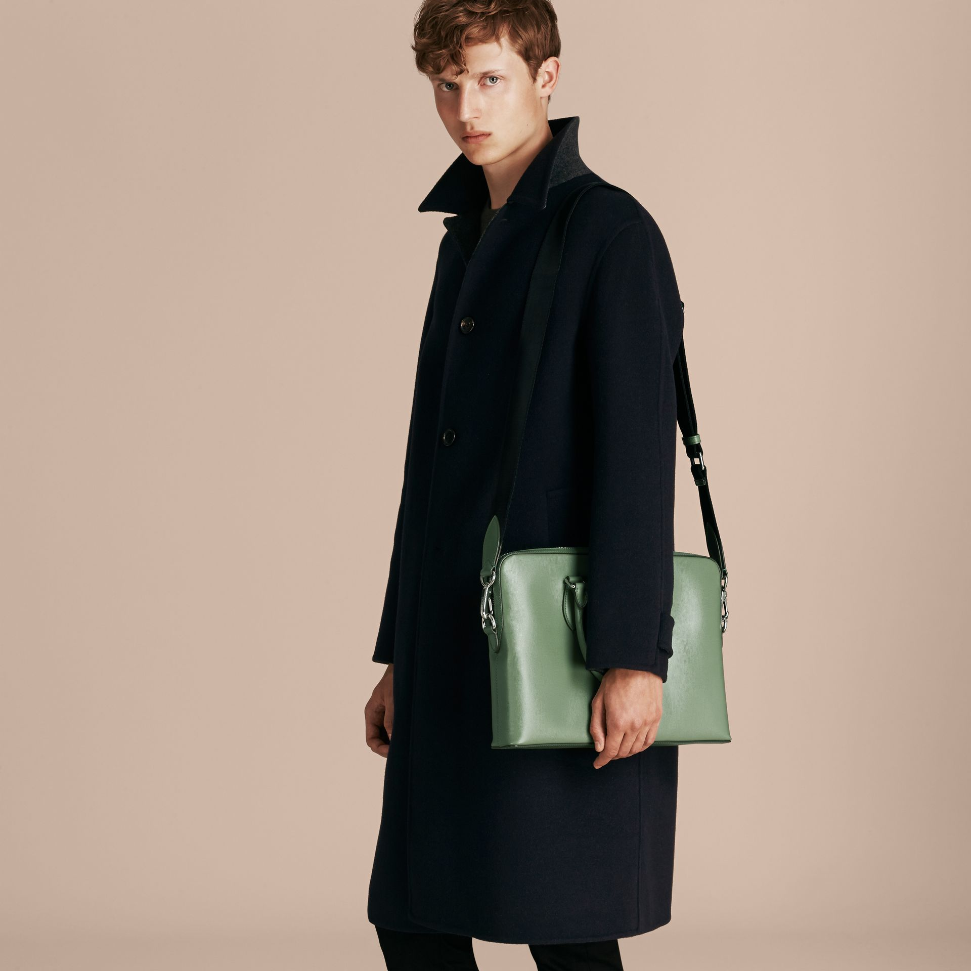 The Slim Barrow in London Leather in Antique Green - Men | Burberry - gallery image 4