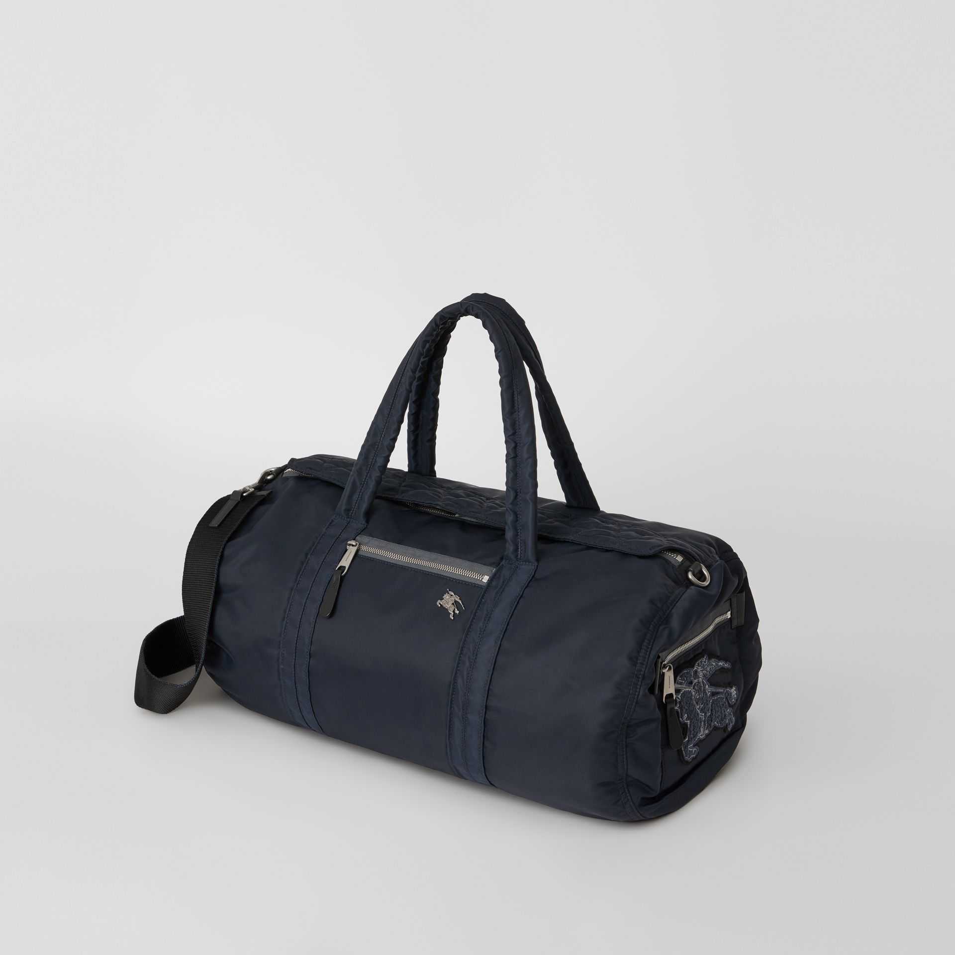 Large EKD Aviator Nylon and Leather Barrel Bag in Ink Blue - Men | Burberry United States - gallery image 3