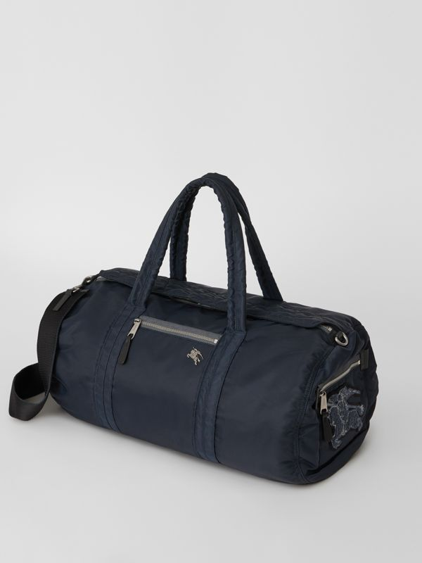 Large EKD Aviator Nylon and Leather Barrel Bag in Ink Blue - Men | Burberry United States - cell image 3