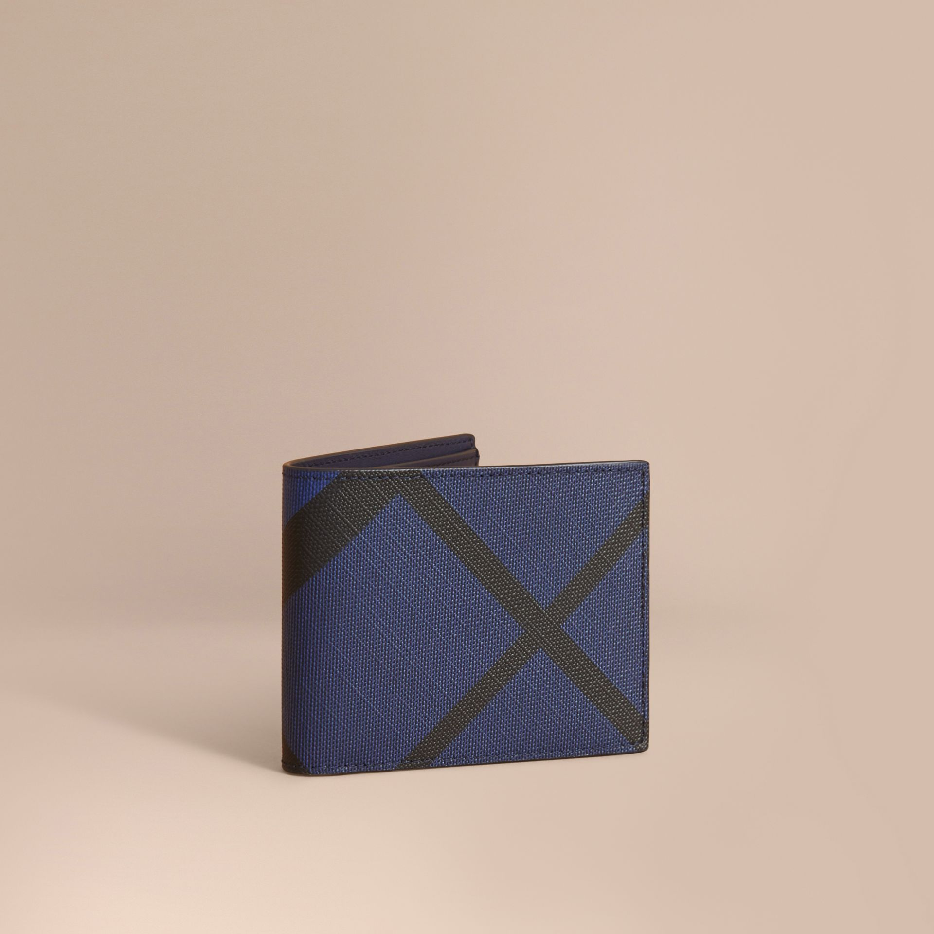 London Check Bifold Wallet in Bright Lapis - Men | Burberry - gallery image 1