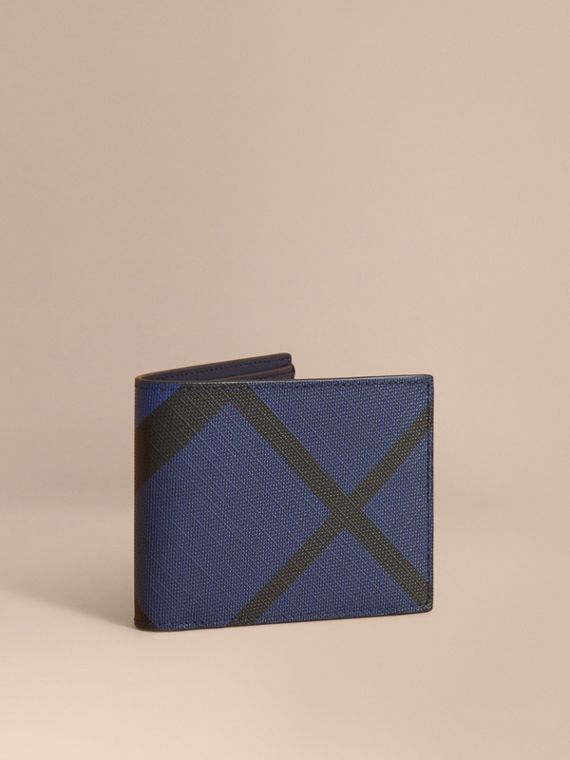 London Check Bifold Wallet in Bright Lapis - Men | Burberry