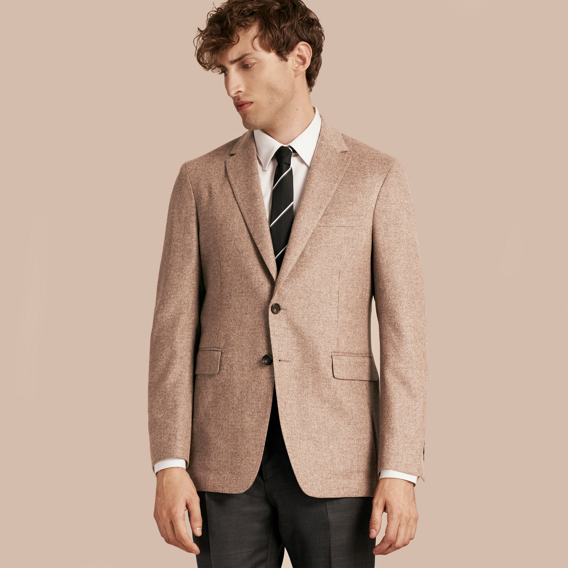 Camel Modern Fit Wool Cashmere Silk Tailored Jacket - gallery image 7