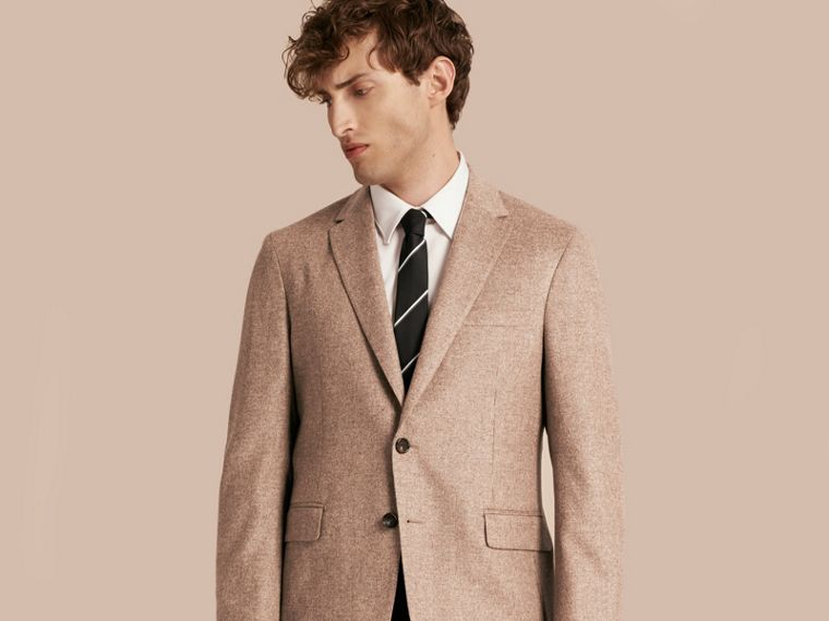 Camel Modern Fit Wool Cashmere Silk Tailored Jacket - cell image 4
