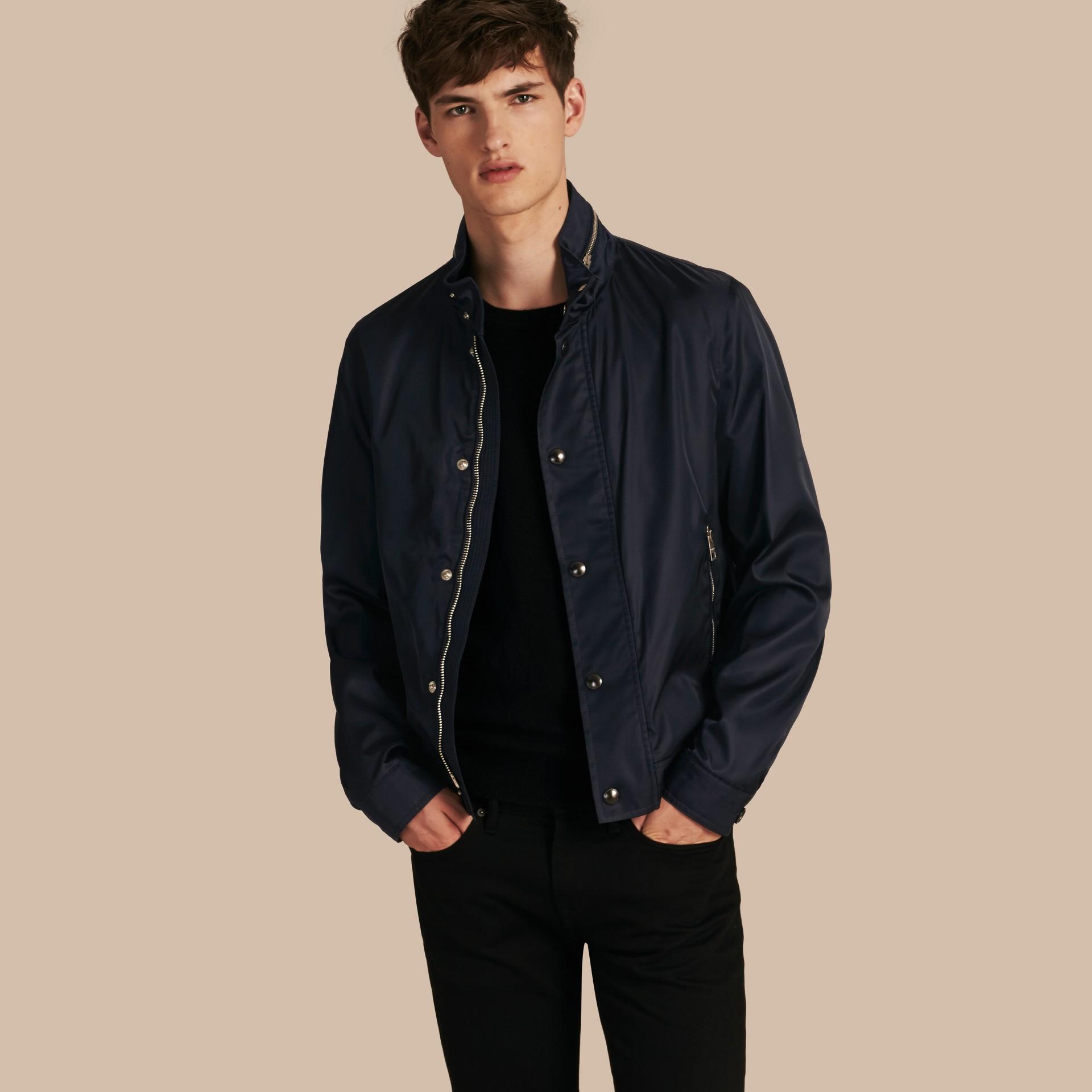 Темно-синий Куртка со складным капюшоном - изображение 1