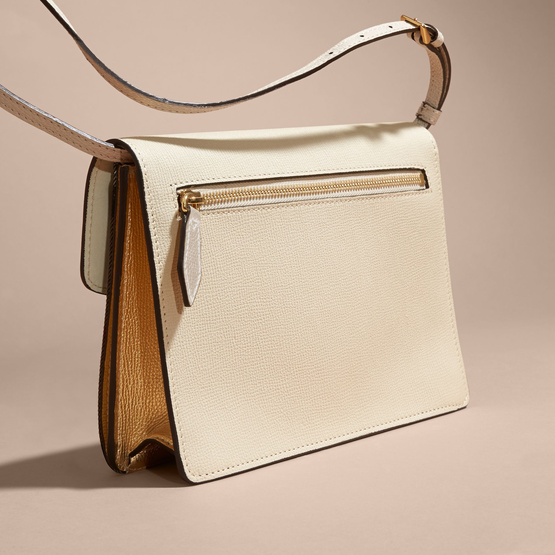 Small Leather and House Check Crossbody Bag in Limestone - gallery image 5