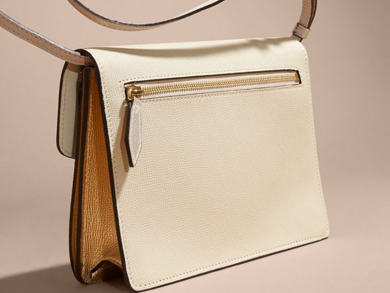 Small Leather and House Check Crossbody Bag in Limestone - cell image 4