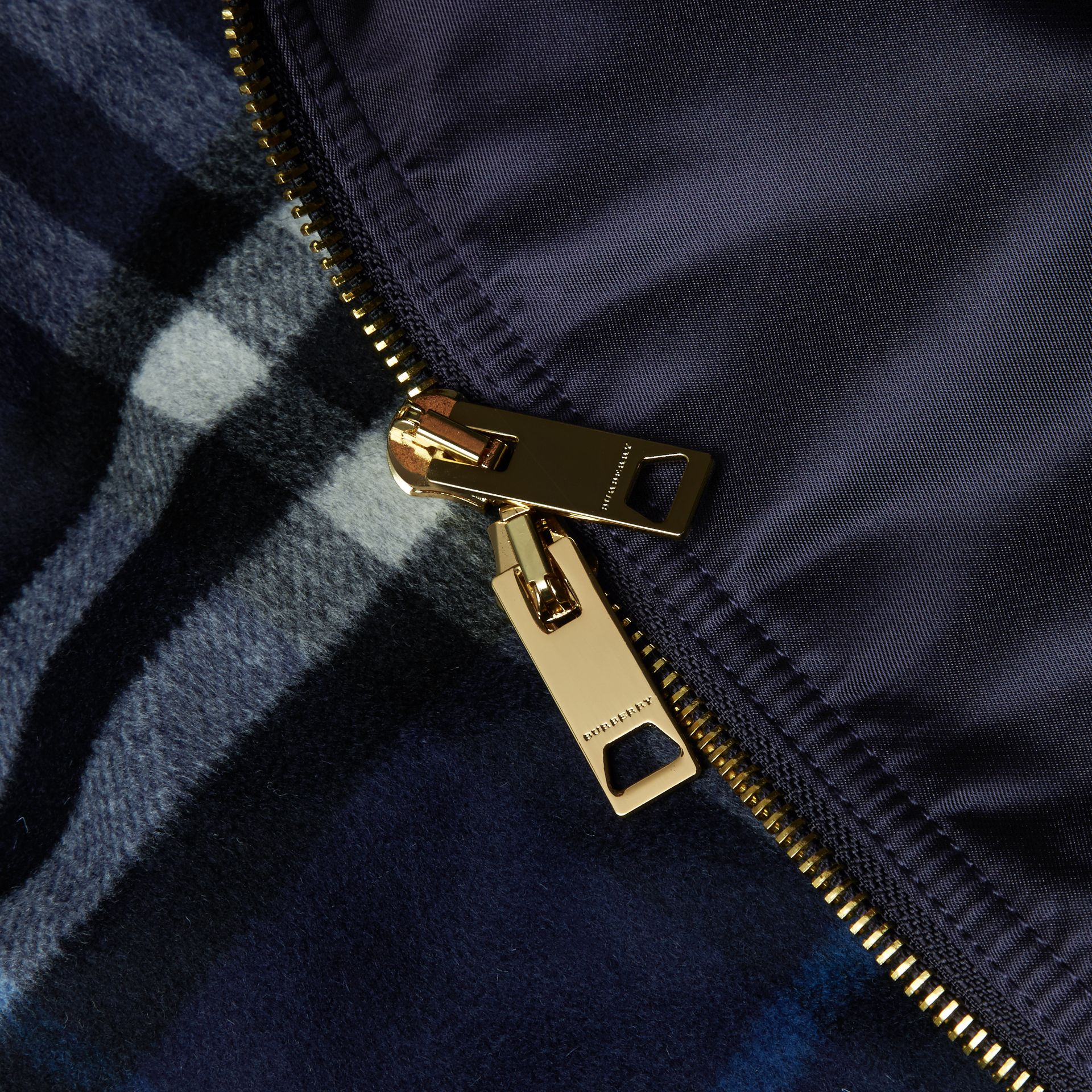Navy Satin Bomber Jacket with Check Undercollar Navy - gallery image 2