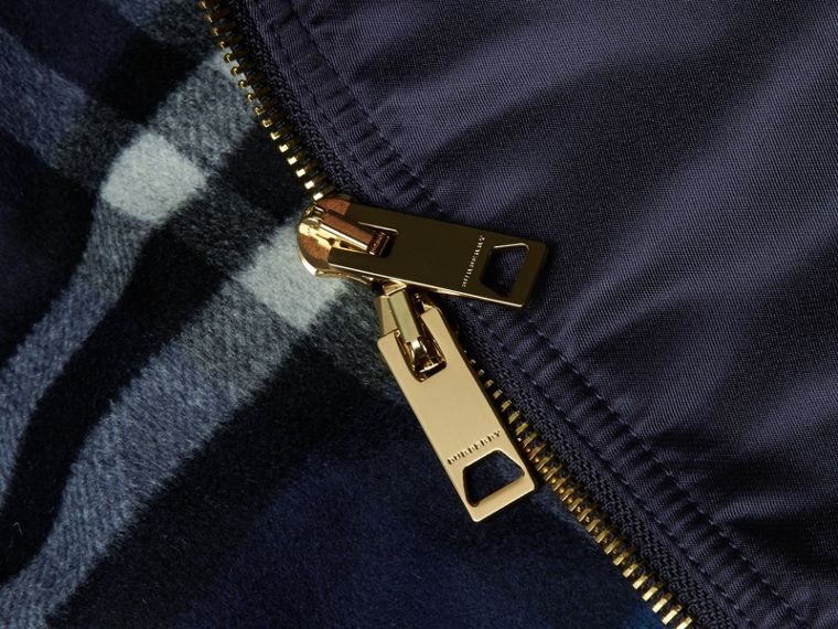 Navy Satin Bomber Jacket with Check Undercollar Navy - cell image 1